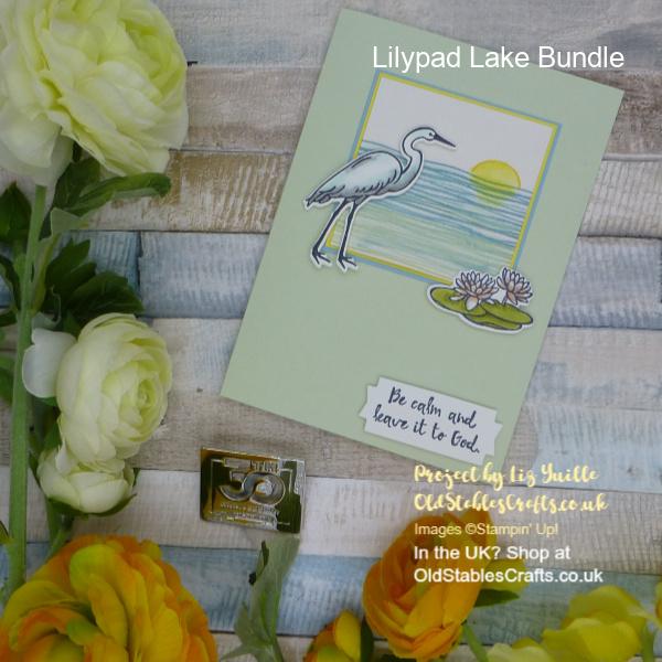 Lilypad Lake Crane and Lily Pad Sunset