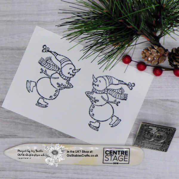 Spirited Snowmen Mirror Stamping