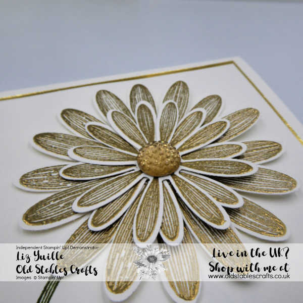 Daisy Lane gold heat embossed Daisy with faceted gem centre