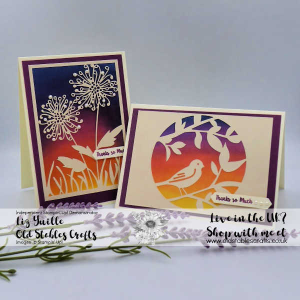 Laser Cut paper cards with inked sunset background