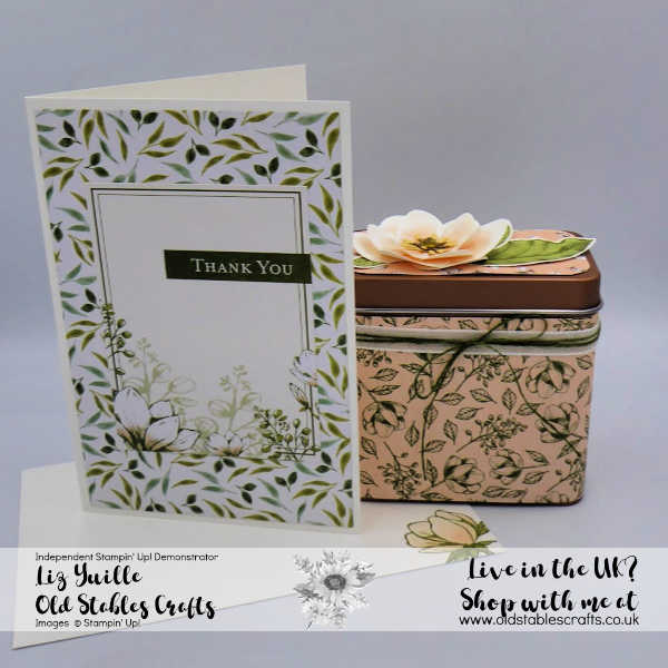 Magnolia Lane Memories and More Card with Copper Tea Tin decorated with Magnolia Lane Suite products