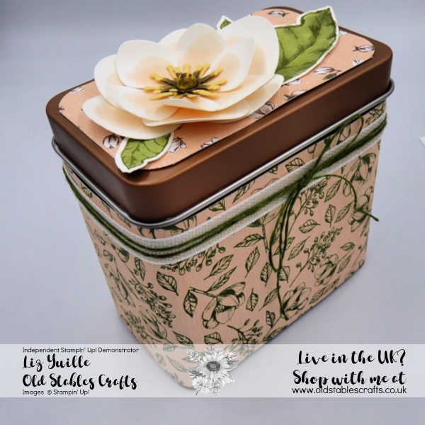 Copper Tea TIn wrapped in Magnolia Lane DSP with paper Magnolia on top