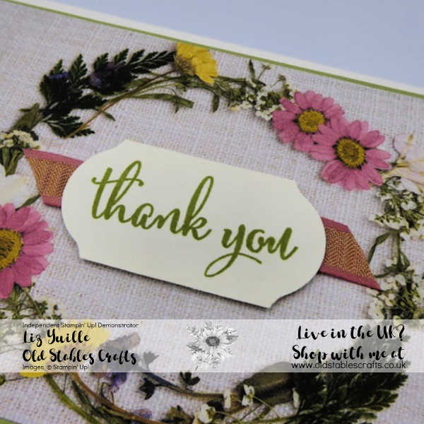 Pressed Petals with Pear Pizzazz and rococo rose gathered ribbon