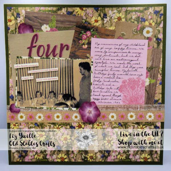 Pressed Petals vintage Scrapbook page