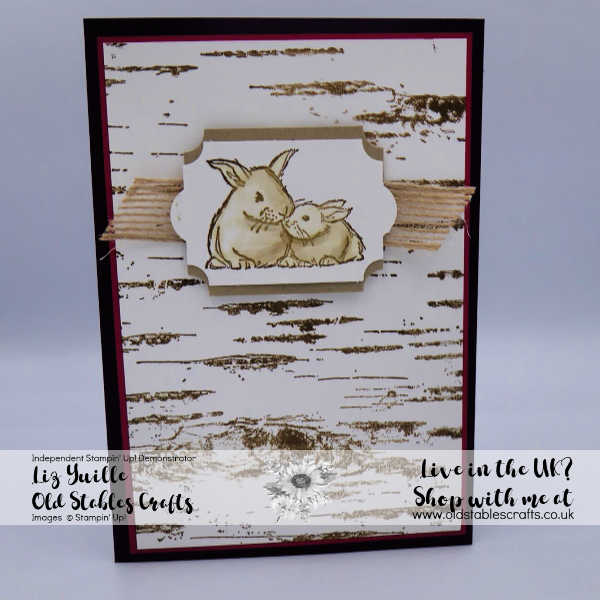 wildly happy and birch card with burlap ribbon