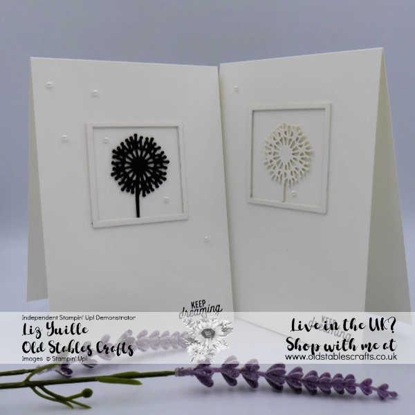 Sweet Silhouettes dies, basic pearls, basic black, thick Whisper White, Framed Dandelion image