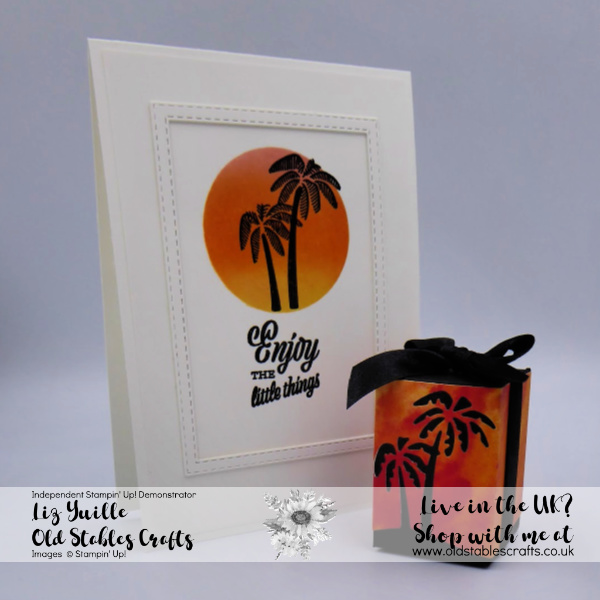 Friend Like You card and box silhouette palm trees in a sunset