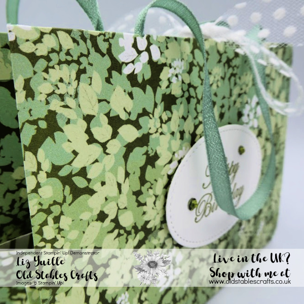 Garden Lane Fold Flat Paper Bag with ribbon handles
