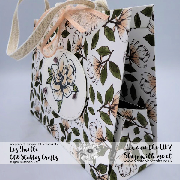 Magnolia Lane Fold Flat Paper Bag with ribbon handles