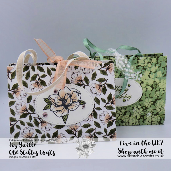 Magnolia Lane and Garden Lane Fold Flat Paper Bag with ribbon handles