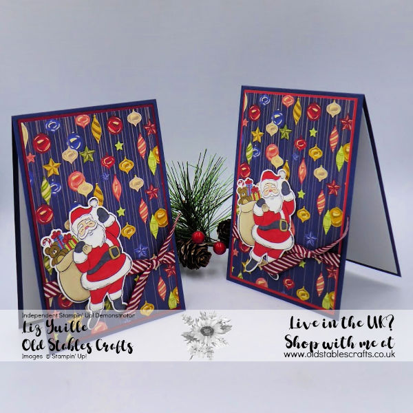 Holly Jolly Christmas cards with Designer Series Paper and a Santa image