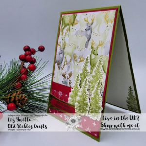 Most Wonderful Time Card Patterned Paper Deer and die cut trees