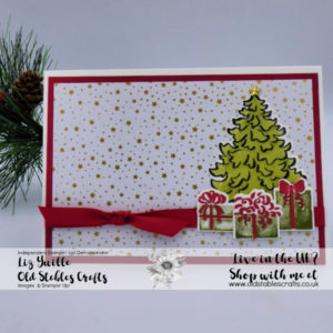 Most Wonderful Time Card Real Red and Old Olive Christmas Tree and Presents