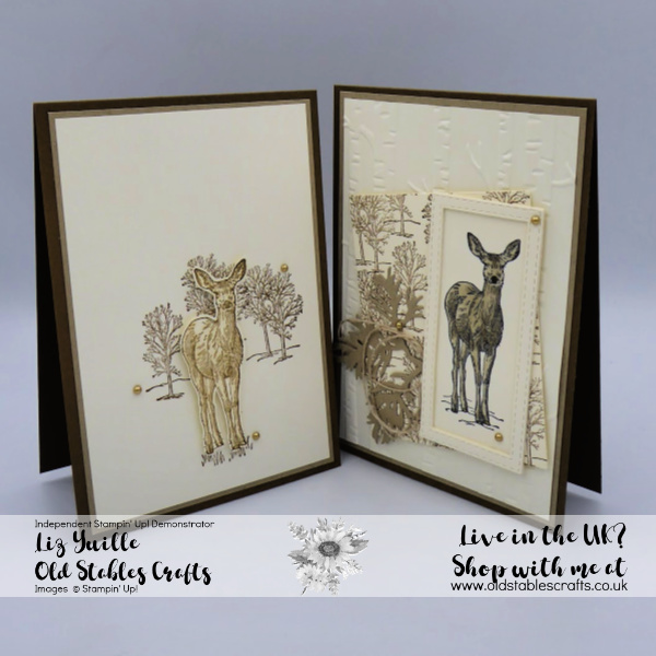 Natures Beauty Deer and Bough card in crumb cake and soft suede
