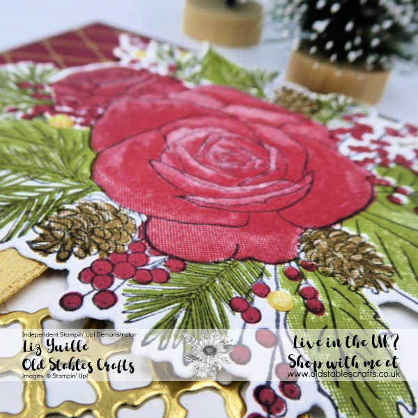 Christmas Rose card using Christmastime is here Suite Close Up on stamped images