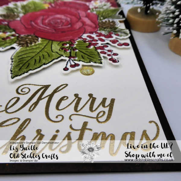 Christmas Rose card using Christmastime is here Suite Close up on sentiment