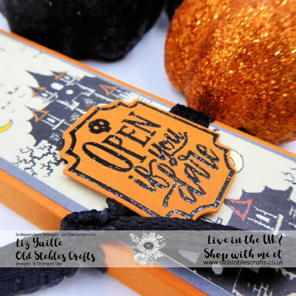 Freaky Friday Pencil Box using Monster Bash Paper and Spooktacular Bash Stamp and die Bundle. Close Up