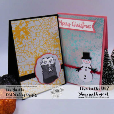 Meet Mercury Glass Acetate, Dracula and a Snowman! Quick and Stunning Cards