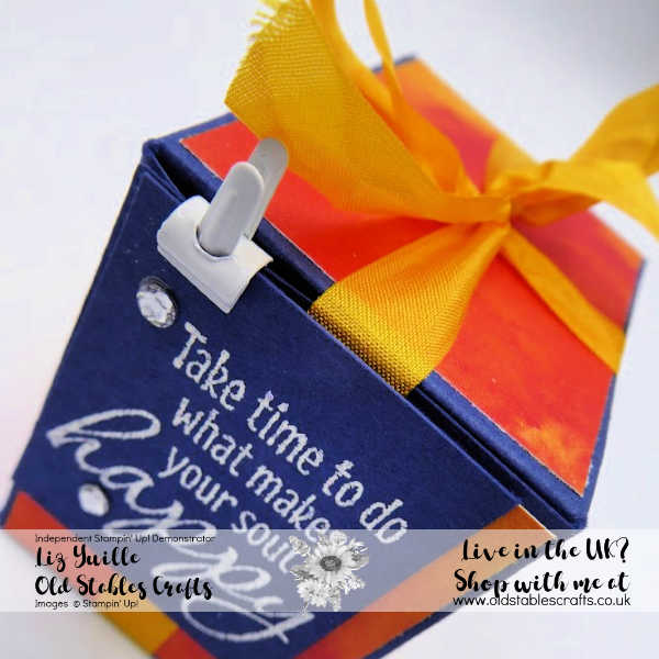 See a Silhouette Tea Light Box in Night of Navy with Crushed Curry Ribbon
