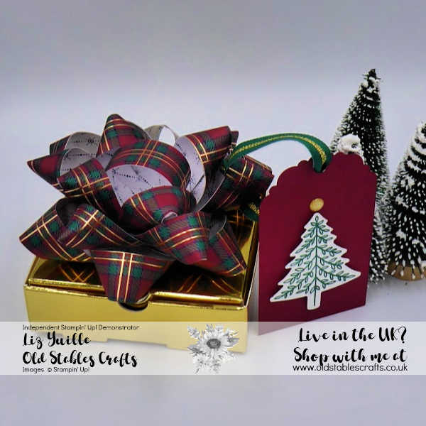 Wrapped in Plaid Gift Bow on Gold Mini Pizza Box
