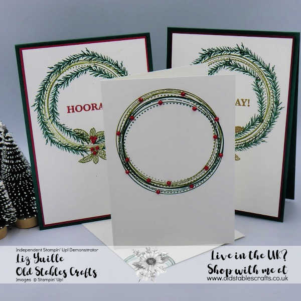 #SSS Swirly Frames and Sip, Sip, Hooray Wreath Cards