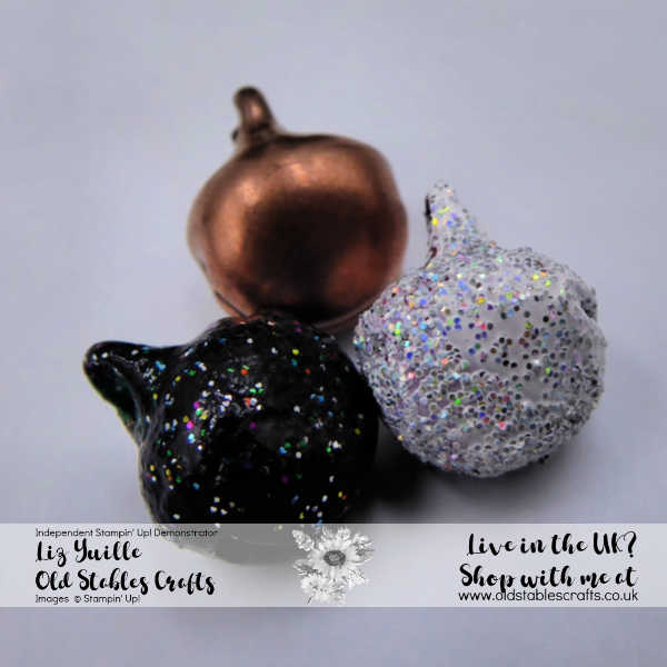 Top Tip Tuesday Colour Changing Jingle Bells close up - Copper, Shimmer White and Shimmer Black