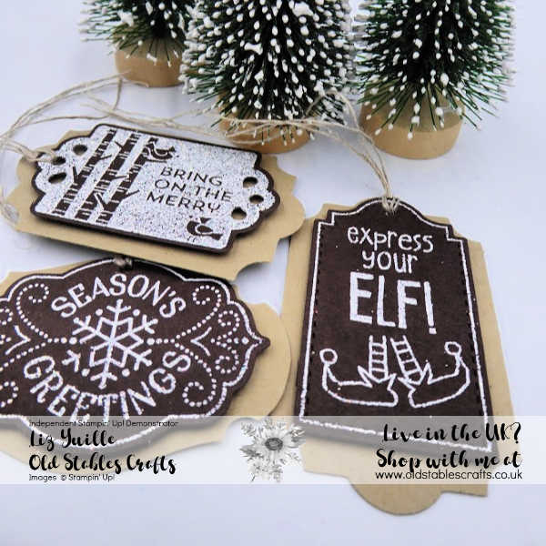 Tags Tags Tags Plus Early Espresso and Shimmer White Heat Embossing