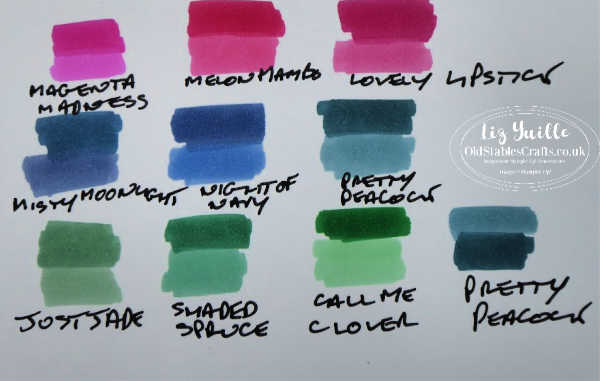 InColor Ink and Blend Colour comparisons OldStablesCrafts.co.uk