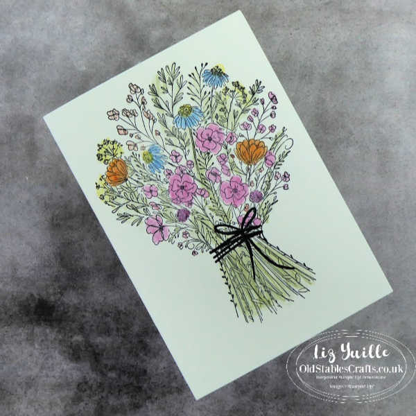#SimpleStamping Saturday With Hand-Drawn Blooms Bundle Quick and simple card OldStablesCrafts.co.uk