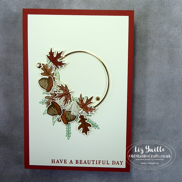 Facebook Live 29th September Replay Beautiful Autumn Gold Hoop Card OldStablesCrafts.co.uk