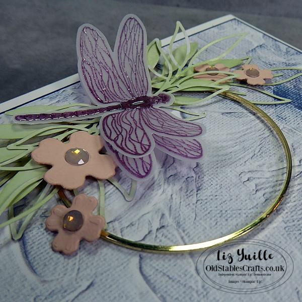 Dragonfly Garden Gold Hoop Wreath for The Spot Challenge 148 OldStablesCrafts.co.uk