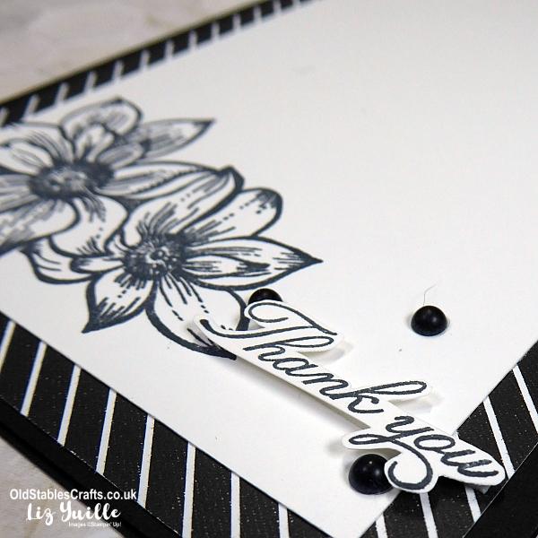 Delicate Petals Monochrome Thank You Card
