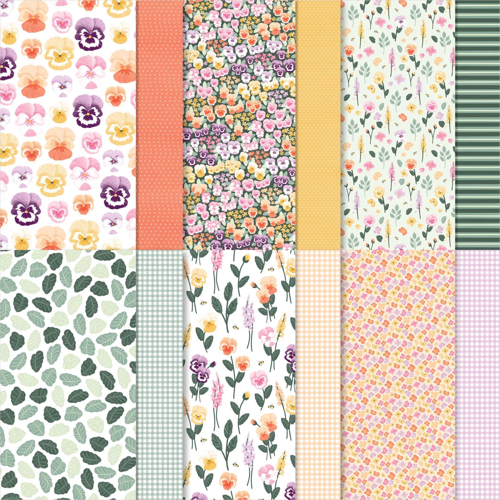 Pansy Petals Designer Series Paper OldStablesCrafts.co.uk