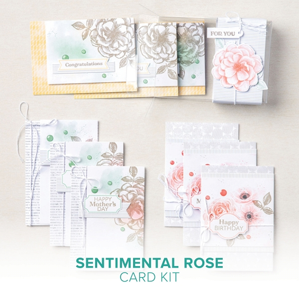 Sentimental Rose Card Kit from opening the box OldStablesCrafts.co.uk